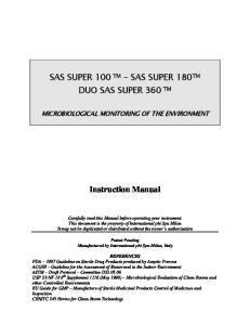 SAS SUPER 100 TM SAS SUPER 180 TM DUO SAS SUPER 360 TM. Instruction Manual