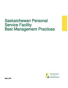 Saskatchewan Personal Service Facility Best Management Practices