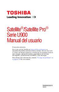 Satellite Pro Serie U900 Manual del usuario