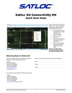 Satloc G4 Connectivity Kit Quick Start Guide