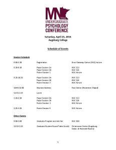 Saturday, April 23, 2016 Augsburg College. Schedule of Events