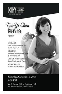 Saturday, October 11, :00 PM. Weill Recital Hall at Carnegie Hall 881 Seventh Ave, New York, NY PIANO