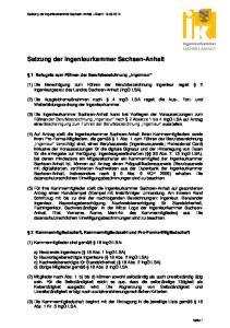 Satzung der Ingenieurkammer Sachsen-Anhalt