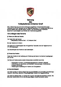 Satzung des Volleyballclub Anklamer Greif