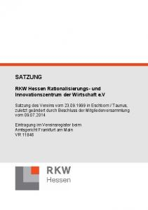 SATZUNG. RKW Hessen Rationalisierungs- und Innovationszentrum der Wirtschaft e.v