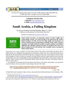 Saudi Arabia, a Failing Kingdom
