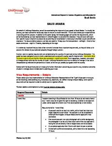SAUDI ARABIA. Required Documents Tourists. International Shipment & Customs Regulations and Information for Saudi Arabia