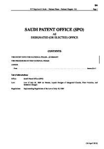 SAUDI PATENT OFFICE (SPO)