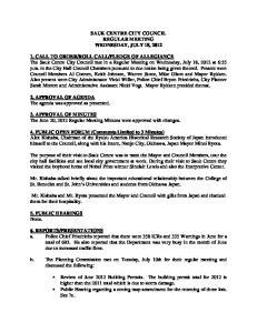 SAUK CENTRE CITY COUNCIL REGULAR MEETING WEDNESDAY, JULY 18, 2012