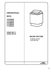 SAUNA HEATERS OWNERS MANUAL MODEL INSTALLATION OPERATION