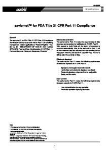 savic-net for FDA Title 21 CFR Part 11 Compliance