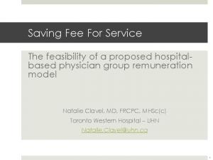 Saving Fee For Service