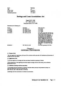 Savings and Loan Associations Act