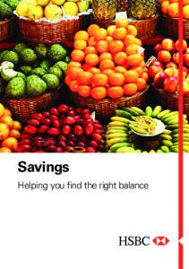 Savings. Helping you find the right balance