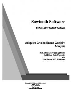 Sawtooth Software. Adaptive Choice Based Conjoint Analysis RESEARCH PAPER SERIES