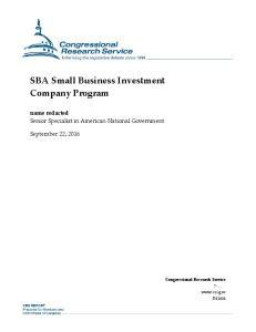 SBA Small Business Investment Company Program