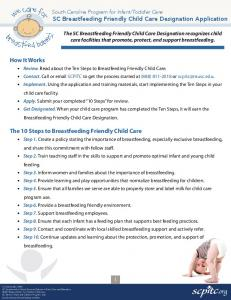 SC Breastfeeding Friendly Child Care Designation Application. How It Works. The 10 Steps to Breastfeeding Friendly Child Care