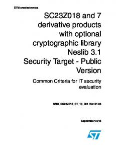 SC23Z018 and 7 derivative products with optional cryptographic library Neslib 3.1 Security Target - Public Version