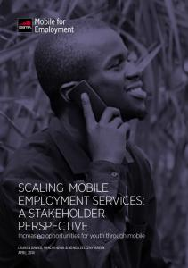 SCALING MOBILE EMPLOYMENT SERVICES: A STAKEHOLDER PERSPECTIVE