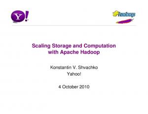 Scaling Storage and Computation with Apache Hadoop