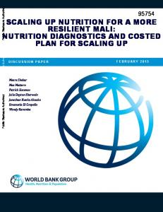 SCALING UP NUTRITION FOR A MORE RESILIENT MALI: NUTRITION DIAGNOSTICS AND COSTED PLAN FOR SCALING UP