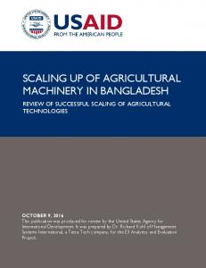 SCALING UP OF AGRICULTURAL MACHINERY IN BANGLADESH