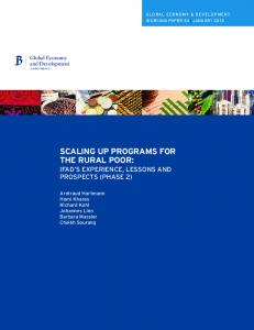SCALING UP PROGRAMS FOR THE RURAL POOR: IFAD S EXPERIENCE, LESSONS AND PROSPECTS (PHASE 2)