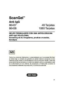 ScanGel Anti-IgG Tarjetas Tarjetas