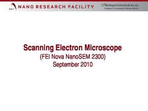 Scanning Electron Microscope (FEI Nova NanoSEM 2300) September 2010