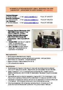 SCANNING ELECTRON MICROSCOPY (SEM) & MICROANALYSIS (EDS) LABORATORY - DEPARTMENT OF EARTH SCIENCE (DST SEM-EDS)