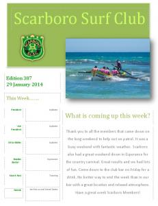 Scarboro Surf Club. What is coming up this week? Edition January This Week