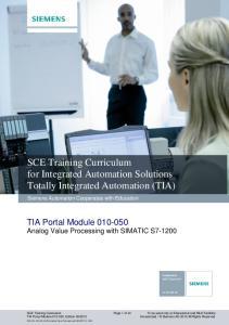 SCE Training Curriculum for Integrated Automation Solutions Totally Integrated Automation (TIA)