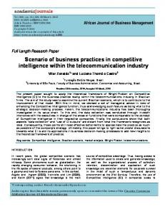 Scenario of business practices in competitive intelligence within the telecommunication industry