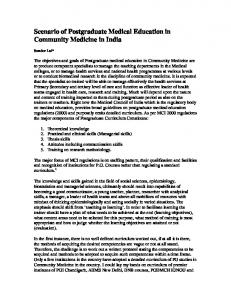 Scenario of Postgraduate Medical Education in Community Medicine in India