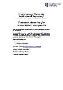 Scenario planning for construction companies