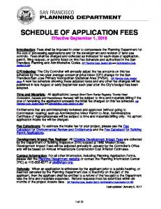 SCHEDULE OF APPLICATION FEES