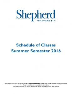 Schedule of Classes Summer Semester 2016
