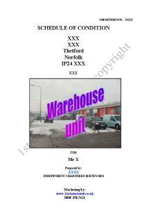 SCHEDULE OF CONDITION XXX XXX Thetford Norfolk IP24 XXX