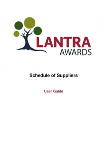 Schedule of Suppliers. User Guide