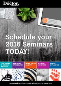 Schedule your 2016 Seminars TODAY!