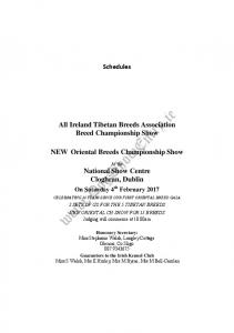 Schedules. All Ireland Tibetan Breeds Association Breed Championship Show. NEW Oriental Breeds Championship Show. At the