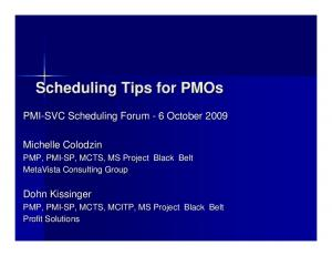 Scheduling Tips for PMOs
