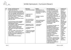Schiller-Gymnasium Curriculum Klasse 6