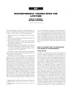 SCHIZOPHRENIA: COURSE OVER THE LIFETIME