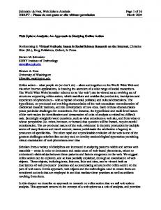 Schneider & Foot, Web Sphere Analysis Page 1 of 16 DRAFT Please do not quote or cite without permission March 2004