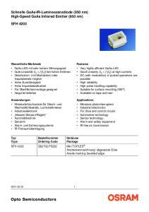 Schnelle GaAs-IR-Lumineszenzdiode (950 nm) High-Speed GaAs Infrared Emitter (950 nm) SFH 4203