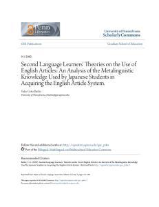 ScholarlyCommons. University of Pennsylvania. Yuko Goto Butler University of Pennsylvania,