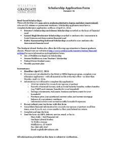 Scholarship Application Form Summer 16