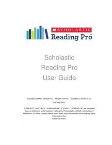 Scholastic Reading Pro User Guide