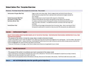 School Action Plan: Template Overview